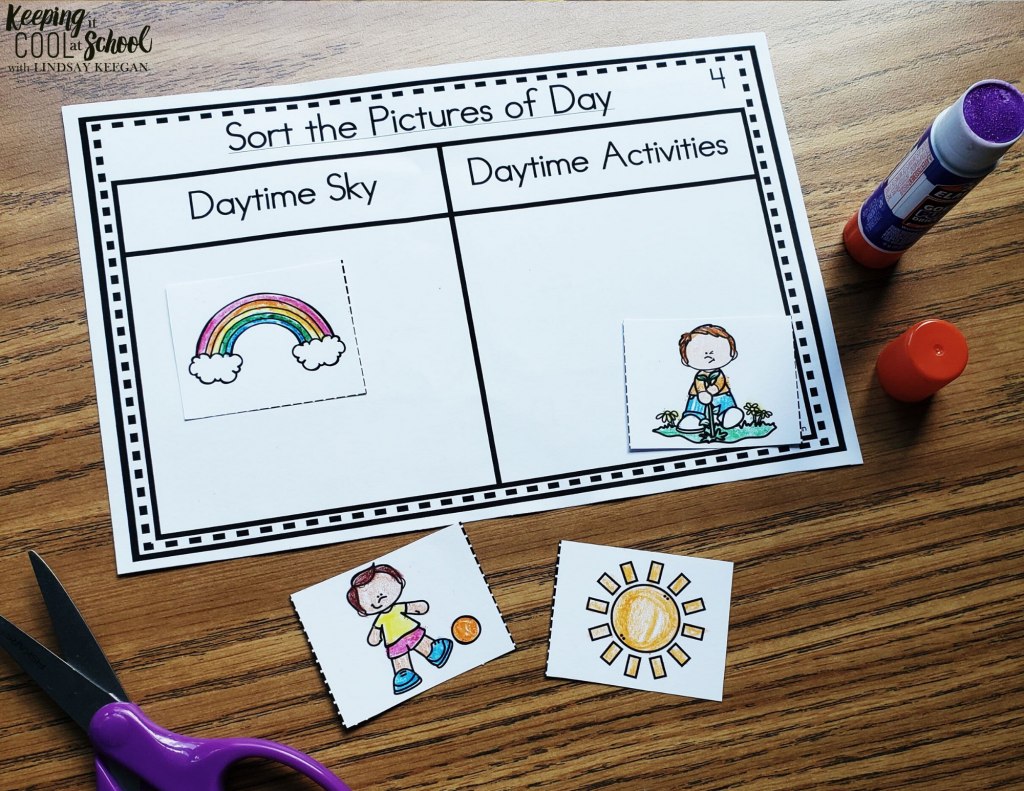 quick science activity for sorting daytime pictures