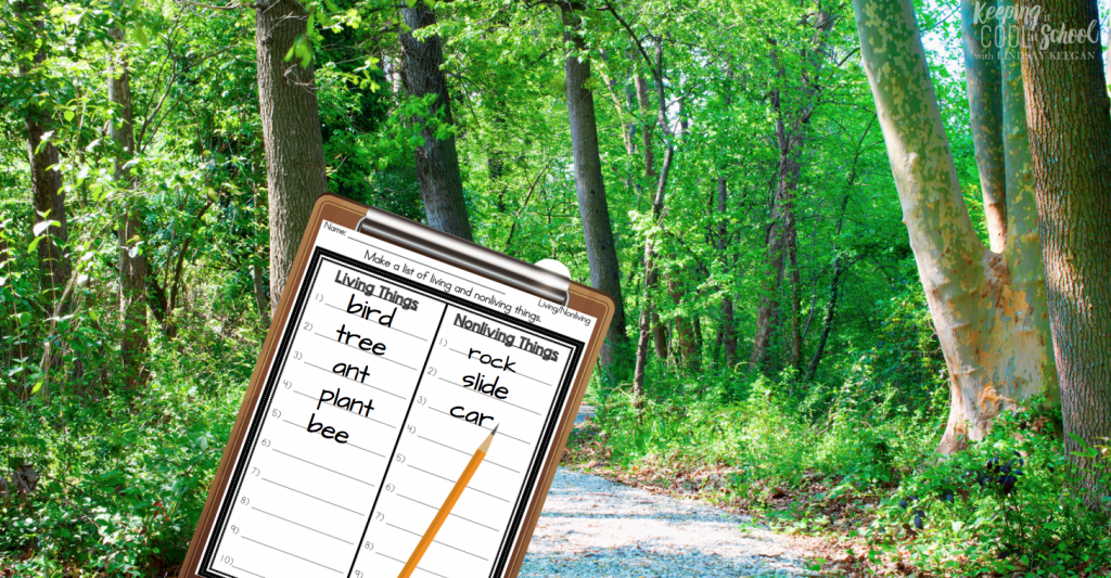 clipboard for student to make observations of living and nonliving things outdoors