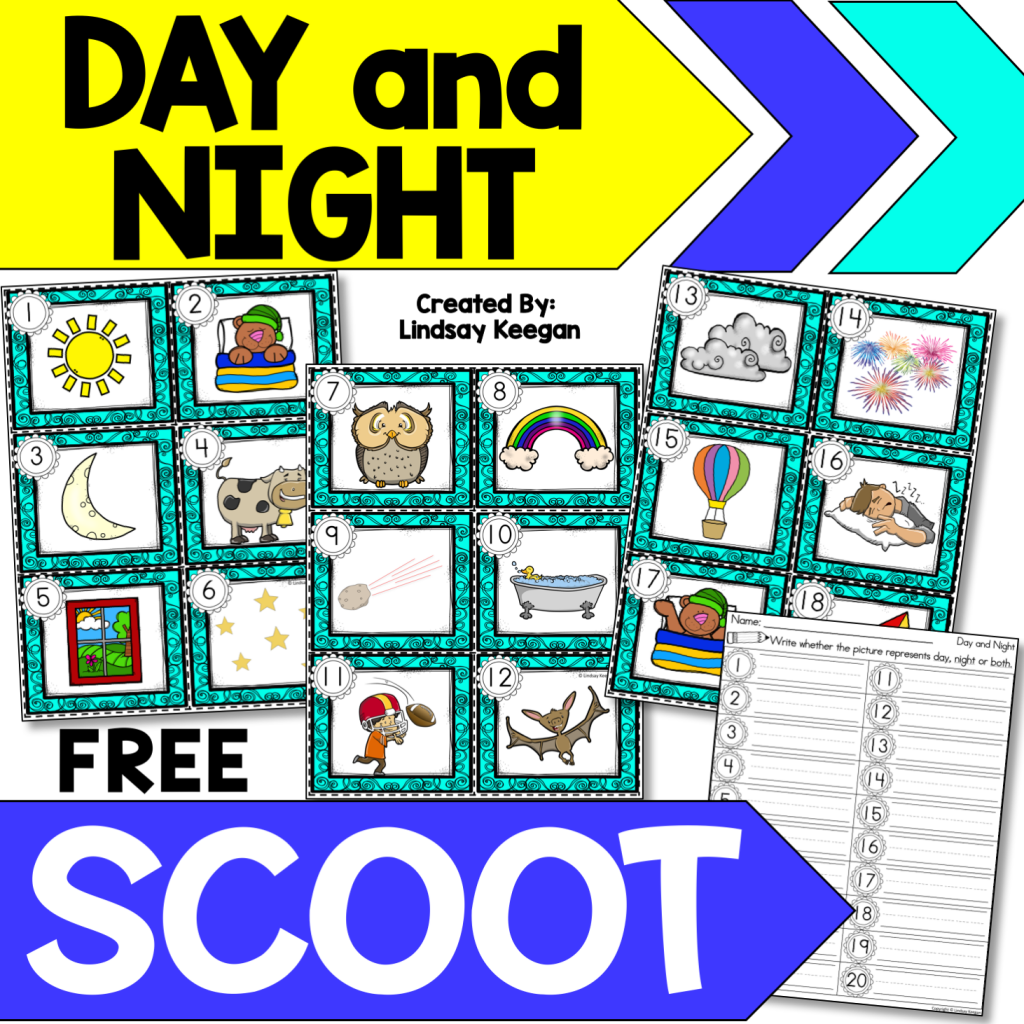 A visual of the piece included in a easy science review game for Day and Night.