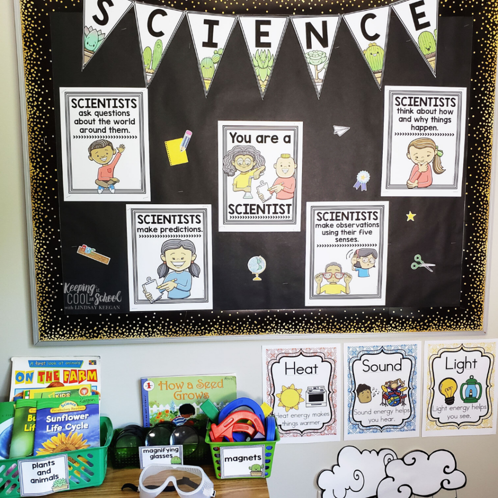 a classroom science corner with anchor charts, labeled bins and anchor charts.