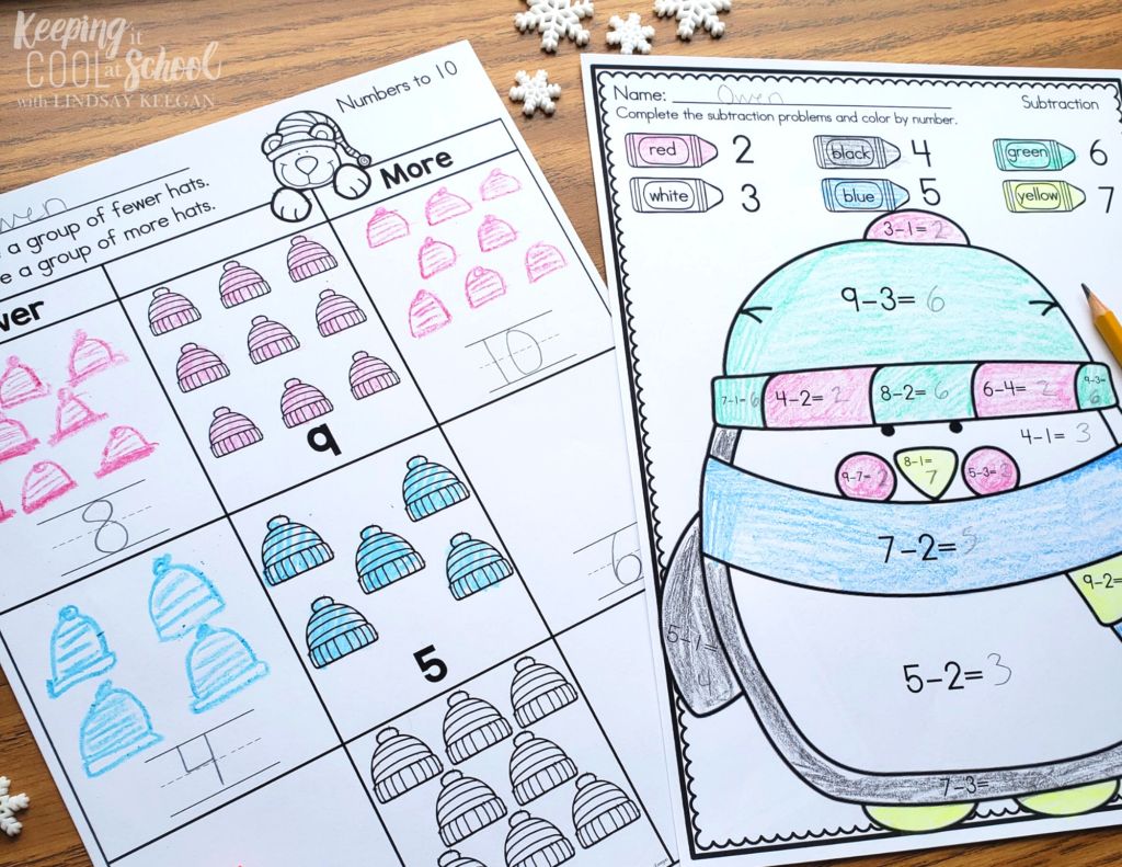 winter math activities for kindergarten
