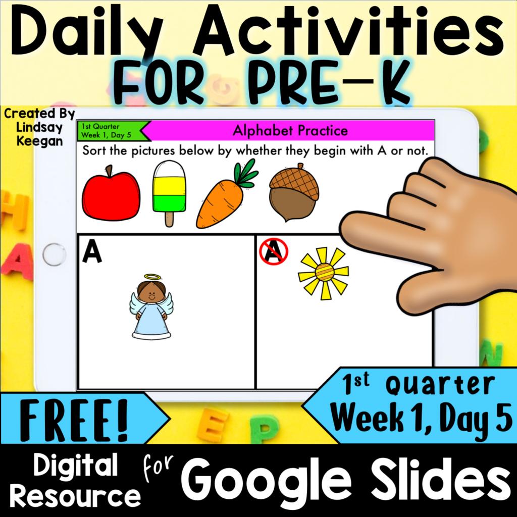 Preschool digital morning work
