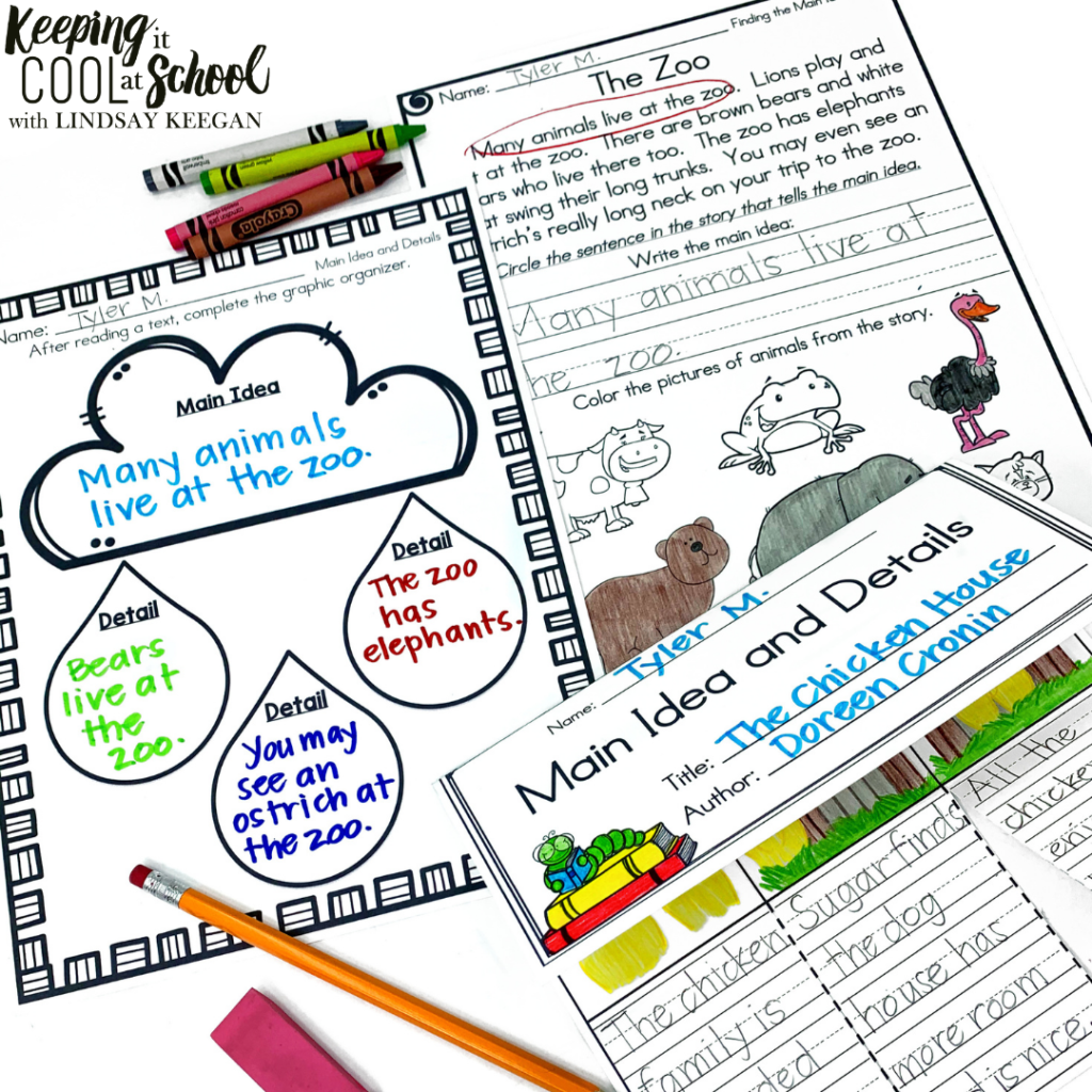 main idea and details graphic organizers and worksheets