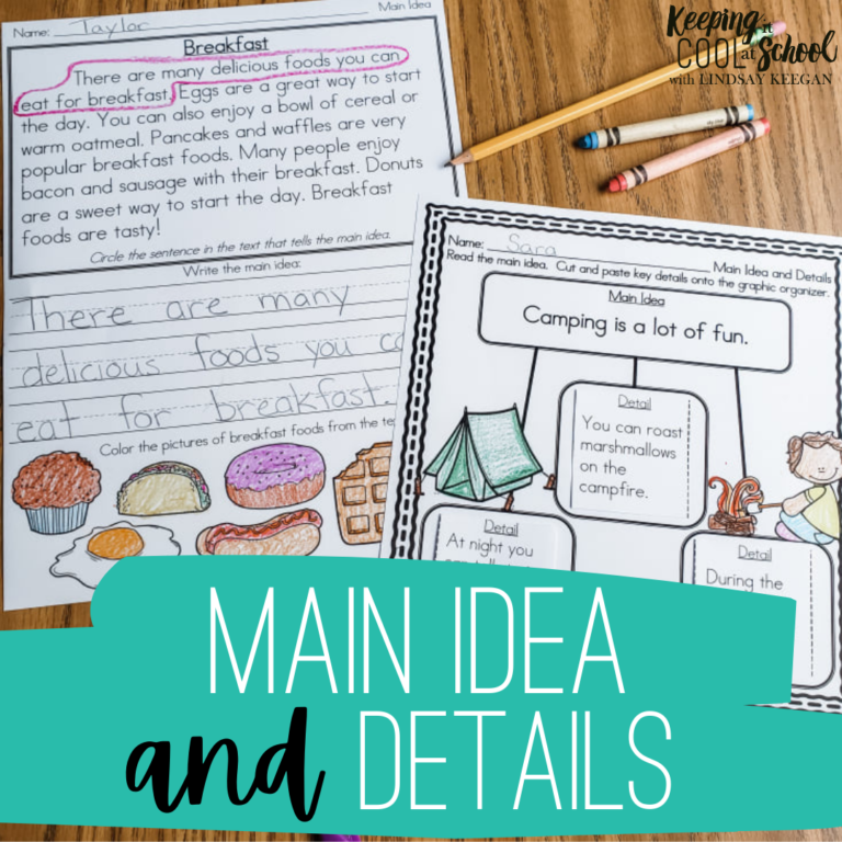 Free main idea and details worksheets