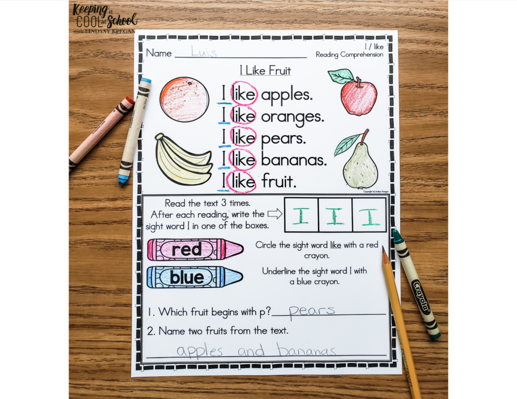 Free fluency and reading comprehension worksheet