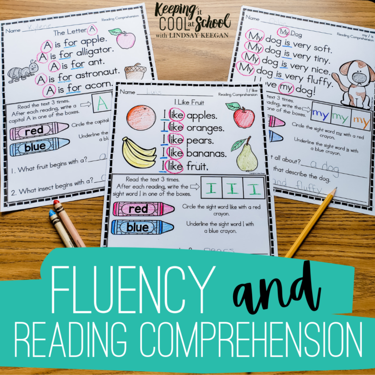 Pictures of fluency and reading comprehension passages