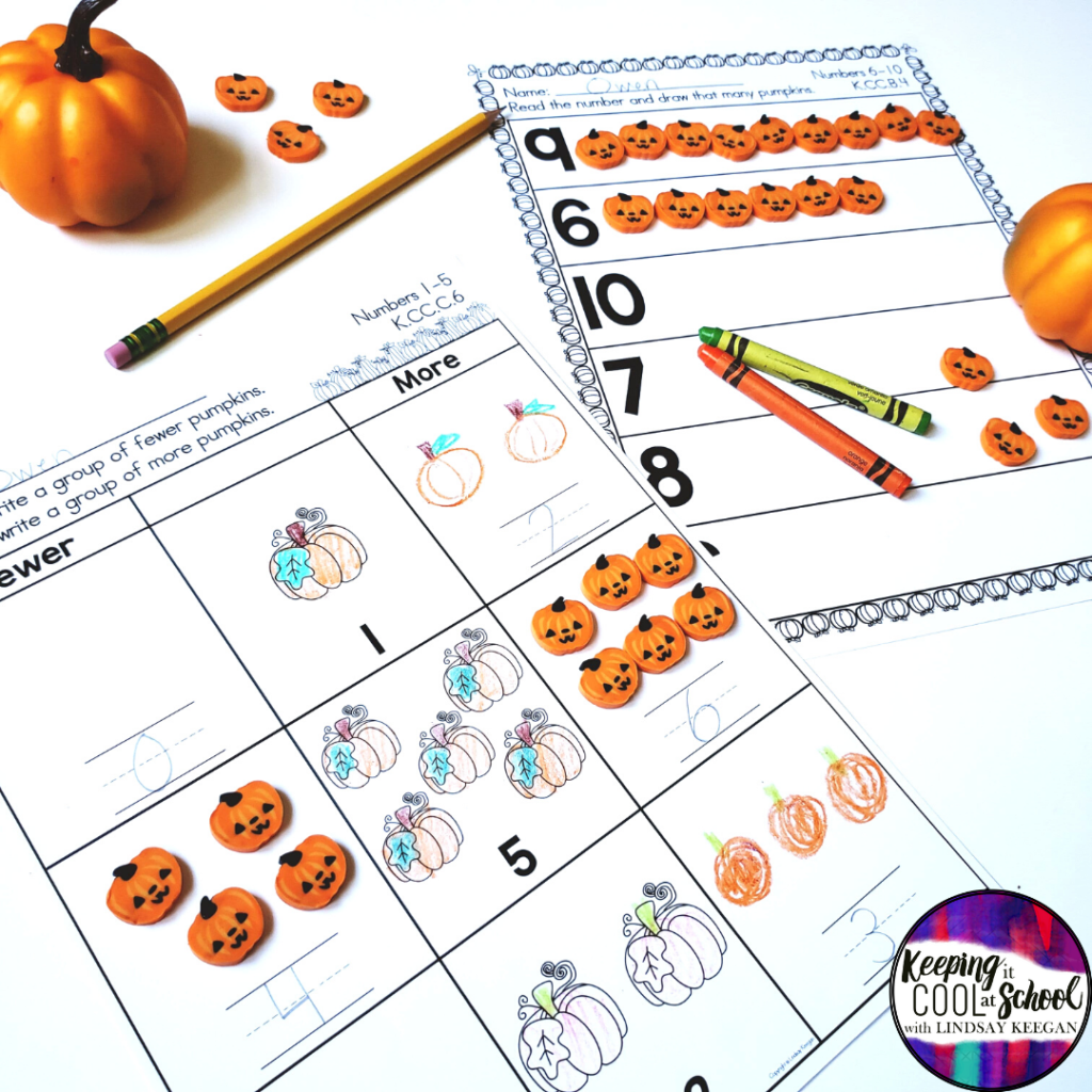 Pumpkin Math Worksheets for Numbers to 10